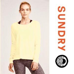 SUNDRY Yellow Pullover Sweatshirt 1/S